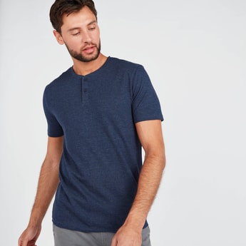 Textured Regular Fit Henley Neck T-shirt with Short Sleeves