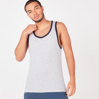 Solid Sleeveless Vest with Piping Detail