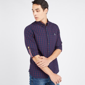Slim Fit Checked Shirt with Pocket Detail and Long Sleeves