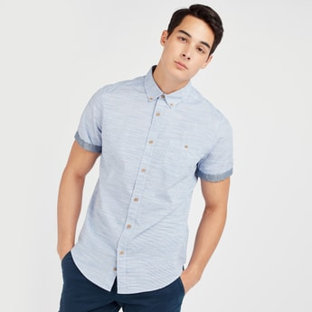 Textured Shirt with Chest Pocket and Short Sleeves