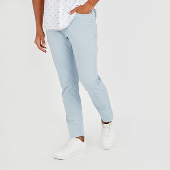 Slim Fit Solid 5-Pocket Jeans with Belt Loops and Pocket Detail