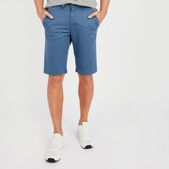 Solid Mid-Rise Chino Shorts with Pocket Detail