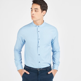Polka Dots Print Shirt with Mandarin Collar and Long Sleeves