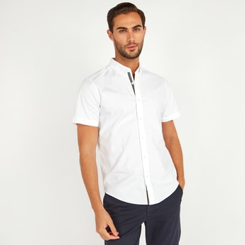 Slim Fit Solid Oxford Shirt with Short Sleeves