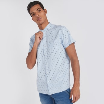 Slim Fit Printed Shirt with Short Sleeves and Chest Pocket