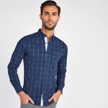 Slim Fit Chequered Oxford Shirt with Long Sleeves