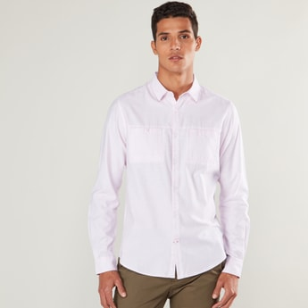 Slim Fit Solid Shirt with Spread Collar and Chest Pockets