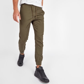 Slim Fit Solid Mid-Rise Jog Pants with Pocket Detail