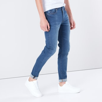 Solid Mid-Waist Jeans in Slim-Fit with Pocket Detail