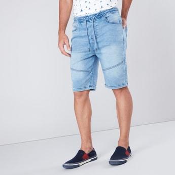 Slim Fit 5-Pocket Denim Shorts with Drawstring Waistband
