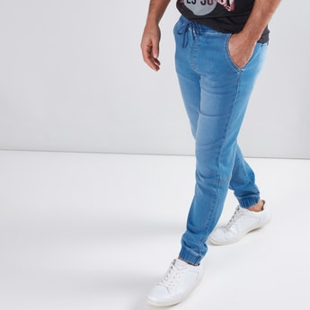 Pocket Detail Jeans with Drawstring and Cuffed Hem