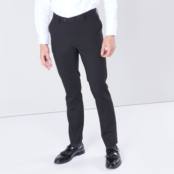 Full Length Textured Trousers with Pocket Detail and Belt Loops