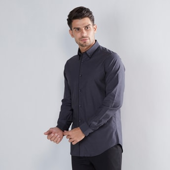 Textured Shirt with Spread Collar and Long Sleeves