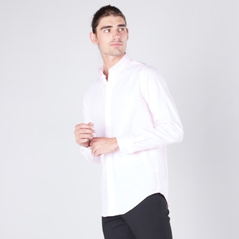 Solid Shirt in Slim-Fit with Long Sleeves