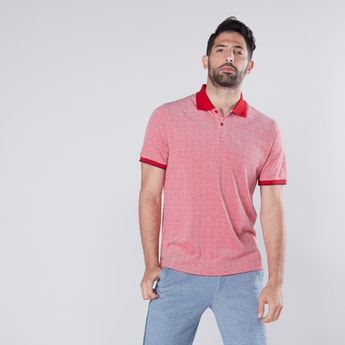 Dot Printed Polo Neck T-shirt with Short Sleeves