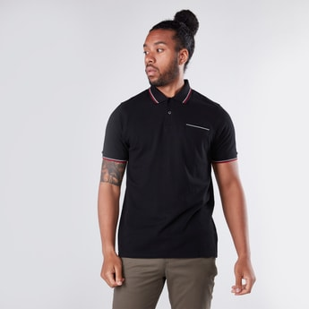 Tipping Detail T-Shirt in Regular Fit with Polo Neck