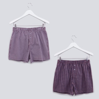 Set of 2 - Chequered Boxers with Elasticised Waistband