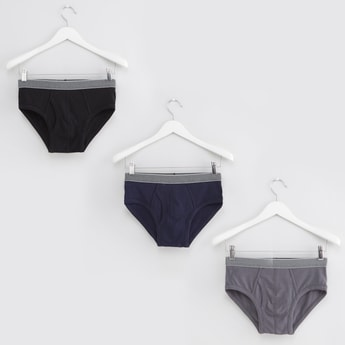 Set of 3 - Solid Briefs with Elasticated Waistband