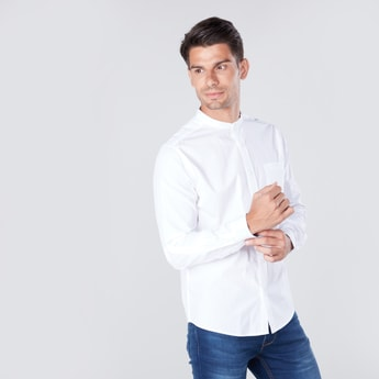 Solid Shirt with Mandarin Collar and Patch Pocket