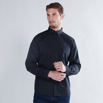 Printed Spread Collared Shirt with Long Sleeves