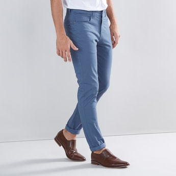 Solid Skinny Mid-Rise Full Length Chinos with Belt Loops
