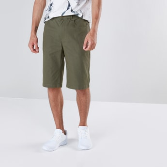 Solid Shorts with 5-Pockets and Button Closure