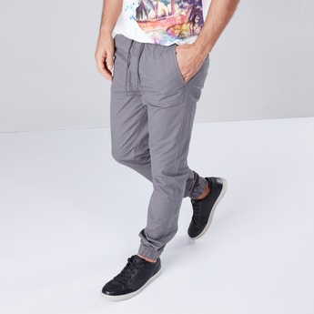 Slim Fit Cuffed Joggers with Drawstring Closure