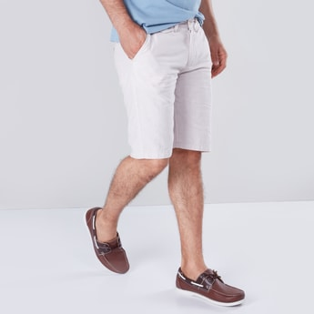 Solid Textured Shorts with 4-Pockets