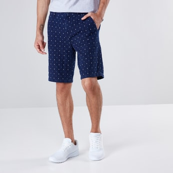 Indigo Dobby Printed Shorts with Button Closure and 3-Pocket