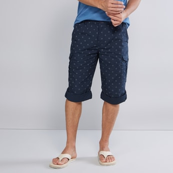Slim Fit Printed Cargo Capri with Pocket Detail