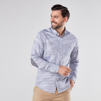 Textured Long Sleeves Shirt with Button Down Collar and Elbow Patches
