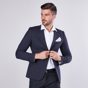 Solid Blazer with Notched Lapel and Welt Pocket