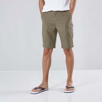 Solid Mid-Waist Shorts with Pocket Detail