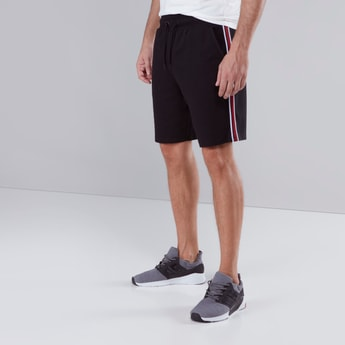 Slim Fit Pocket Detail Shorts with Drawstring and Side Tape