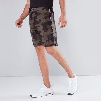 Slim Fit Printed Shorts with Pocket Detail and Drawstring Closure