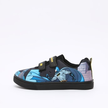 Batman Print Sports Shoes with Hook and Loop Closure