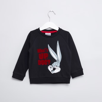 Bugs Bunny Printed Sweatshirt with Round Neck and Long Sleeves