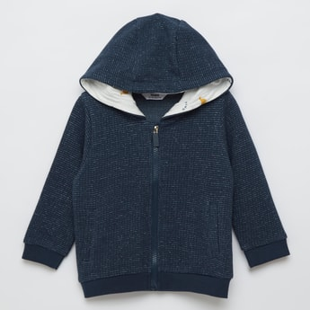 Textured Front Zip Jacket with Hood and Long Sleeves