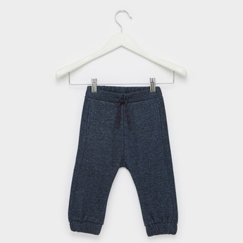 Textured Jog Pants with Bear Applique and Drawstring Closure