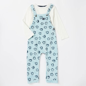 Solid Long Sleeves T-shirt with All-Over Print Dungarees Set