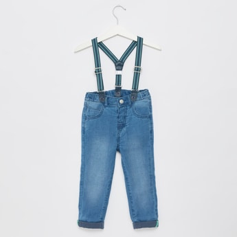 Solid Jeans with Adjustable Suspenders and Pockets