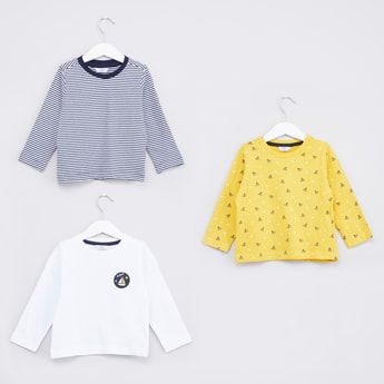 Set of 3 - Printed Round Neck T-shirt with Long Sleeves