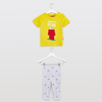 Snoopy Print Round Neck T-shirt with Full Length Jog Pants