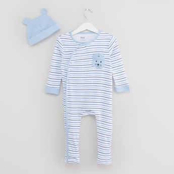 Striped Long Sleeves Sleepsuit with Ear Applique Detail Cap