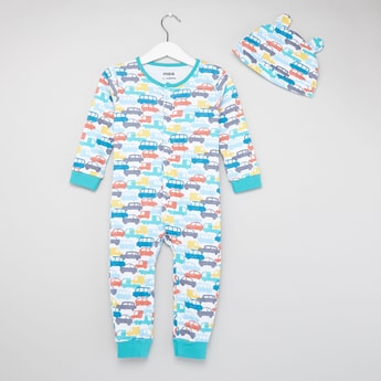All-Over Cars Print Long Sleeves Sleepsuit with Cap