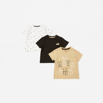 Pack of 3 - Printed Round Neck T-shirt with Short Sleeves