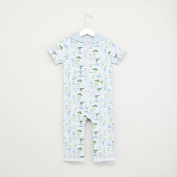 Dinosaur Printed Romper with Hood and Zip Closure