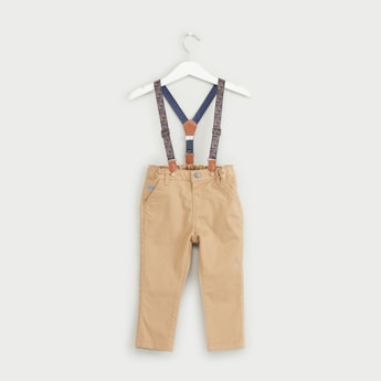 Solid Pants with Printed Suspenders