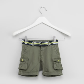 Solid Cargo Shorts with Striped Waist Belt