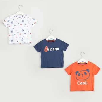 Set of 3 - Assorted Printed Round Neck T-shirt with Short Sleeves